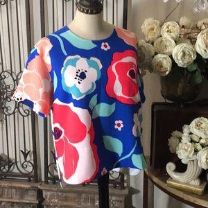 Kate Spade floral hi/lo blouse.